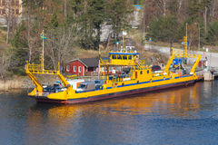 Swedish yellow Ro-Ro cargo ship loading Stock Images