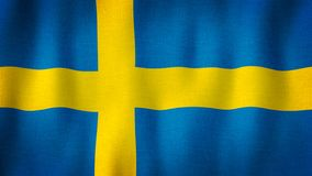 Sweeden flag waving in the wind. Closeup of realistic Swedish flag with highly detailed fabric texture