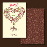 Sweeet and coffee. Two sides card design Stock Photography