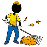 Sweeper. Silhouette-man at work - sweeping leaf Stock Photo