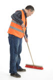 Sweeper. Sweeping sweeper road construction worker Royalty Free Stock Photography