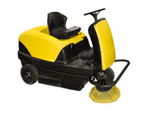 Sweeper. Yellow sweeper on a white background Stock Image