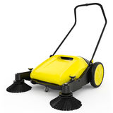 Sweeper. With black plastic and yellow metal on a white isolated background Royalty Free Stock Photography