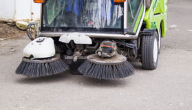 SWEEPER CAR IN A CITY PARK ,CLEANING Stock Photo