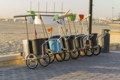 Sweeper carts. Sweeper carts ready to start working Royalty Free Stock Images
