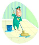 Sweeper. Illustration of sweeper moping floor in vector Stock Photo