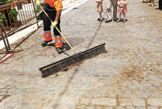 Sweeper municipal cleaning service Royalty Free Stock Images