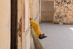 Sweeper Resting in Amber Fort Royalty Free Stock Images