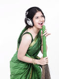 A sweeper singing and hiving fun Royalty Free Stock Photography