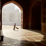 A sweeper at the Taj Mahal mosque Stock Photos