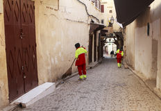 Sweepers in the street of fez Stock Photography