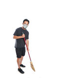 Sweeping away the allergies Royalty Free Stock Image