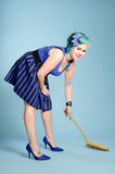 Sweeping girl Stock Photo