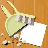 Housecleaning background with sweeping equipment Stock Photography