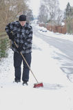 Sweeping snowy sidewalk Royalty Free Stock Photos