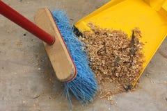 Sweeping up Wood Shavings Stock Image