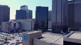 A sweeping view of the Dallas skyline stock video