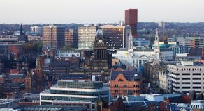 Landscape view of Leeds CIty centre one of the Northern power house cities. Sweeping view of Leeds City centre with a combination of old and new architecture in royalty free stock photos