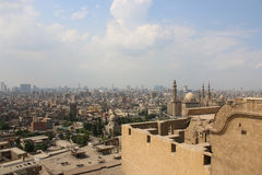 Sweeping views across Cairo from the Citadel. Cairo. Egipt. View of Cairo from the Citadel. Mosque of Sultan Hassan. Cairo. Egipt Royalty Free Stock Image