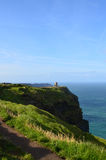 Sweeping Views of O`Brien`s Tower on the Cliff`s of Moher Stock Photos