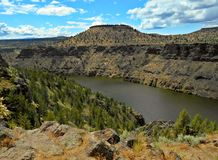 Sweeping Vista. View in the Deschutes River Canyon and Lake Simtustus near Madras, OR royalty free stock photo