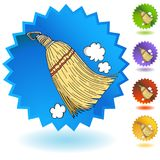 Sweeping Whisk Broom Round Blue Button Icon. An image of a Sweeping Whisk Broom Round Blue Button Icon Stock Illustration