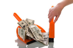Sweeps money in the scoop Stock Photography