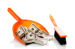 Sweeps money in the scoop Royalty Free Stock Photo