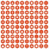 100 sweepstakes icons hexagon orange. 100 sweepstakes icons set in orange hexagon isolated vector illustration Royalty Free Stock Photo