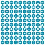 100 sweepstakes icons sapphirine violet. 100 sweepstakes icons set in sapphirine hexagon isolated vector illustration stock illustration