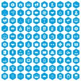 100 sweepstakes icons set blue. 100 sweepstakes icons set in blue hexagon isolated vector illustration Royalty Free Stock Photography