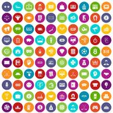 100 sweepstakes icons set color. 100 sweepstakes icons set in different colors circle isolated vector illustration Royalty Free Stock Images