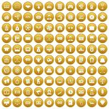 100 sweepstakes icons set gold. 100 sweepstakes icons set in gold circle isolated on white vectr illustration Stock Illustration