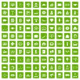 100 sweepstakes icons set grunge green. 100 sweepstakes icons set in grunge style green color isolated on white background vector illustration Royalty Free Stock Image