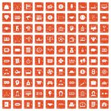 100 sweepstakes icons set grunge orange. 100 sweepstakes icons set in grunge style orange color isolated on white background vector illustration Stock Photography
