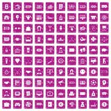 100 sweepstakes icons set grunge pink. 100 sweepstakes icons set in grunge style pink color isolated on white background vector illustration Stock Photos