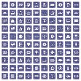 100 sweepstakes icons set grunge sapphire. 100 sweepstakes icons set in grunge style sapphire color isolated on white background vector illustration Stock Illustration
