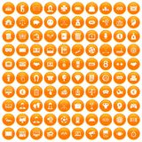 100 sweepstakes icons set orange. 100 sweepstakes icons set in orange circle isolated vector illustration Royalty Free Stock Photos