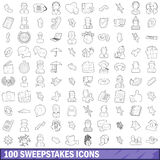 100 sweepstakes icons set, outline style Stock Photos
