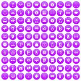 100 sweepstakes icons set purple. 100 sweepstakes icons set in purple circle isolated vector illustration royalty free illustration