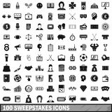 100 sweepstakes icons set, simple style Stock Photo
