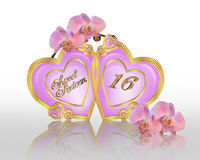 Sweet 16 birthday graphic orchids Stock Photos