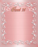 Sweet 16 Birthday invitation. Background of pink satin with white border design Stock Photo