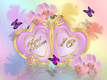 Sweet 16 invitation graphic. Image and illustration composition of Gold hearts, feathers, orchids and butterflies on rainbow colors background for sweet 16 vector illustration