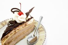 Sweet. Chocolate dessert with cherry Royalty Free Stock Image