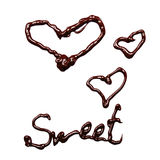 Sweet. And hearts isolated on white background Stock Image