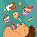 Sweet addiction concept. Unhealthy nutrition conception. Obese man and different desserts in cartoon style. Vector illustration.  Stock Image