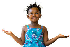 Sweet african girl looking up with arms open. Royalty Free Stock Photos