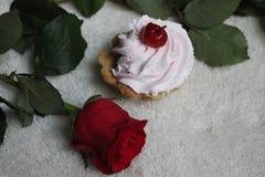 Birthday cake. Sweet airy cream cake with red rose nice dessert and birthday gift stock photo