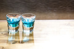 Sweet alcoholic blue liqueur royalty free stock photography